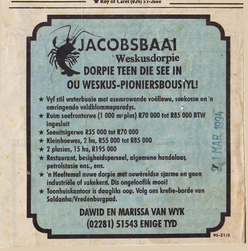 One of the first advertisements placed by Dawid and Marissa van Wyk to market Jacobsbaai