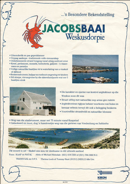 Jacobsbaai advertising effort, '93